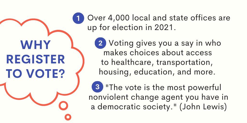 """El texto azul sobre un fondo de color crema en una burbuja de pensamiento roja dice """"¿Por qué registrarse para votar?"""" El texto en negro responde: """"1) Más de 4,000 cargos locales y estatales se presentarán a elecciones en 2021. 2) La votación le da voz sobre quién toma decisiones sobre el acceso a la atención médica, el transporte, la vivienda, la educación y más. 3) """"El voto es el agente de cambio noviolento más poderoso que existe en una sociedad democrática"""". (John Lewis) """""""