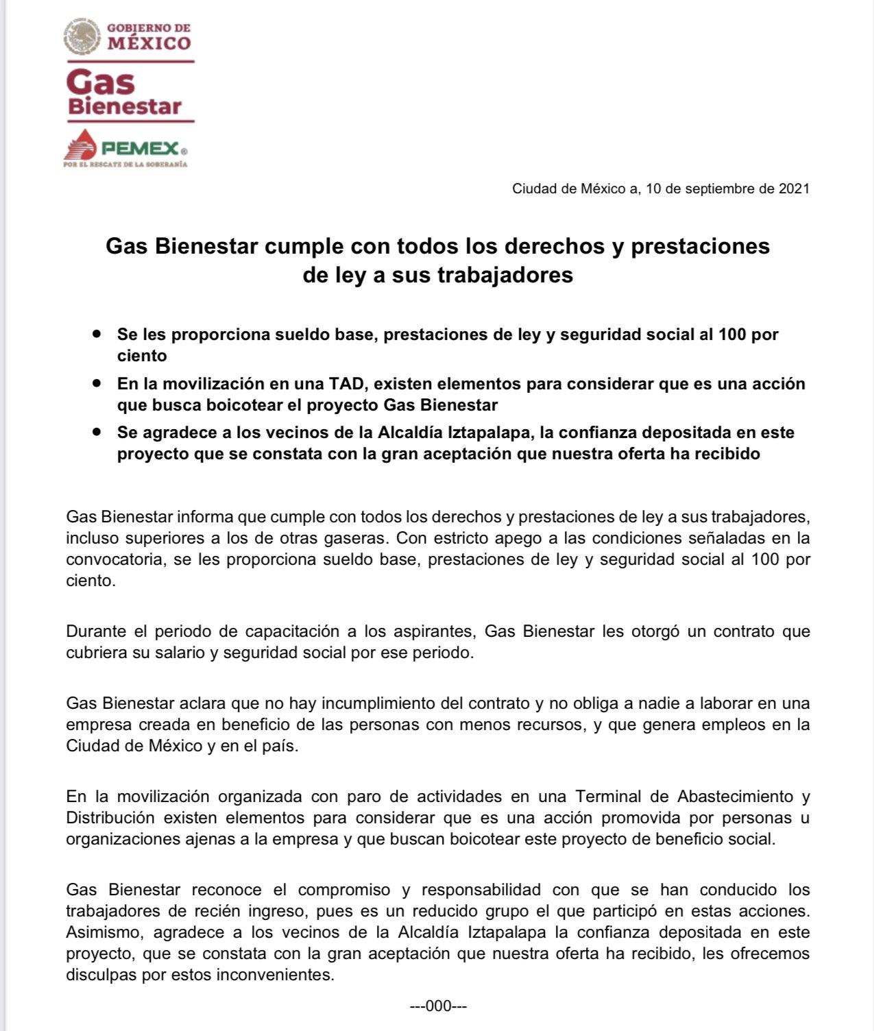 """Los trabajadores de """"Gas Bienestar"""" protestan por supuesto incumplimiento de contrato"""