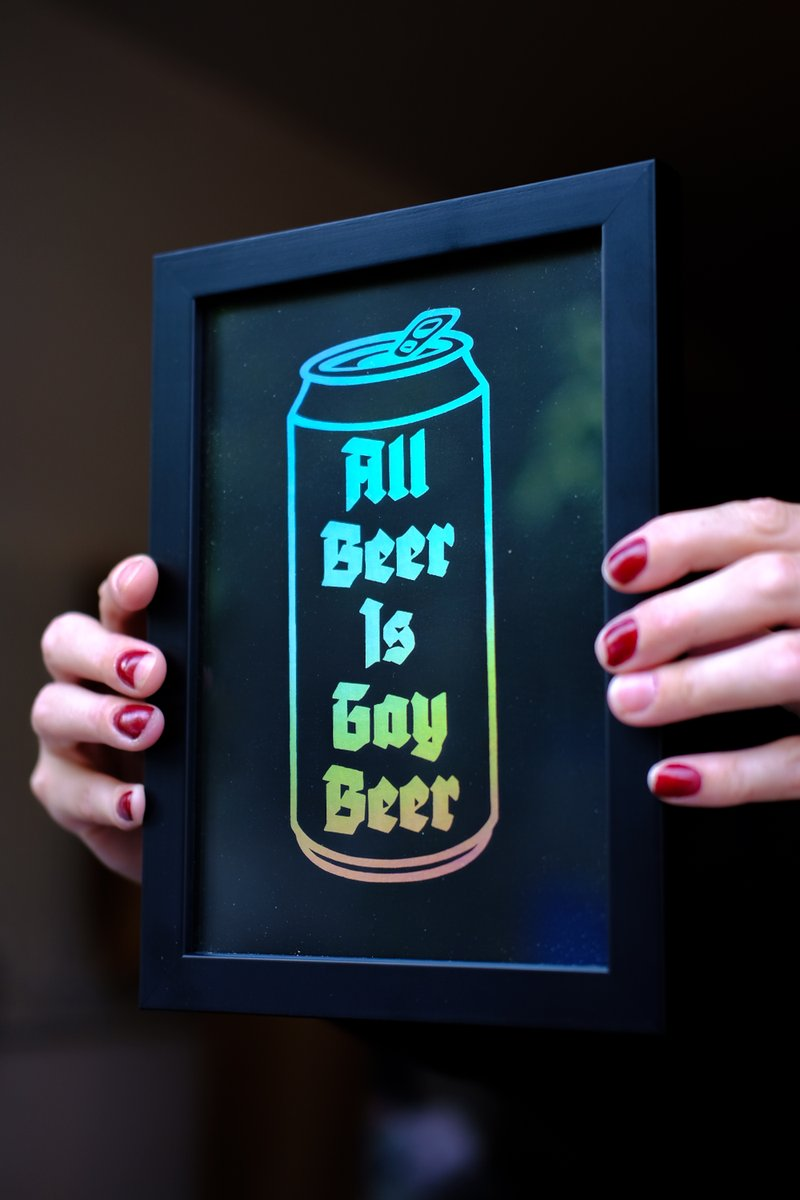 What's that? You'd like to pledge your allegiance to the Gay Beer Agenda via the medium of wall art? We've got these wicked All Beer Is Gay Beer prints up for sale—AND the rainbow moves when you do, so when you dance, it dances. Like science and that! thequeerbrewingproject.com/shop/p/a3-all-…