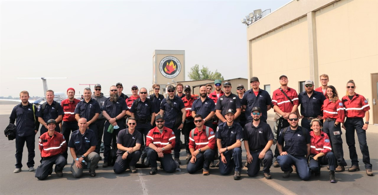 Canadian crews pose for a group photo after their arrival at NIFC on September 8, 2021. Credit: Jennifer Myslivy, BLM