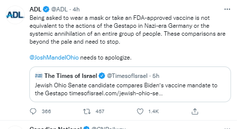 The vaccine is not FDA approved. The mask is like the yellow star of David patch Jews were forced to wear, and the 'vaccine' may very well amount to 'the systematic annihilation of an entire group of people.'