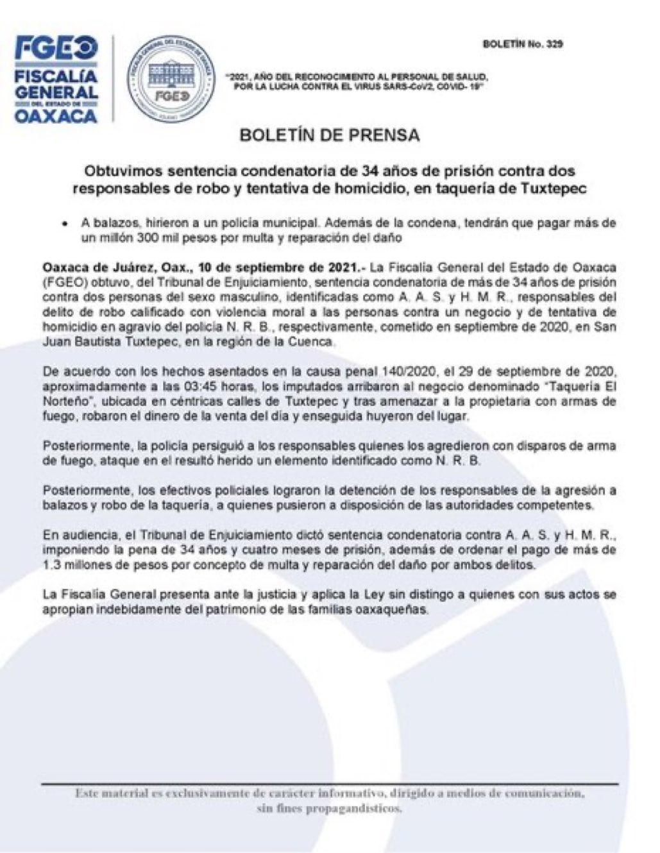 """34 años de prisión contra responsables de robo y tentativa de homicidio, en taquería """"El Norteño"""", en Tuxtepec, Oaxaca"""