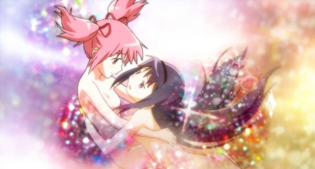 Madoka and Homura hugging in a shapeless sparkle void, both naked in that nondescript 90s shoujo way