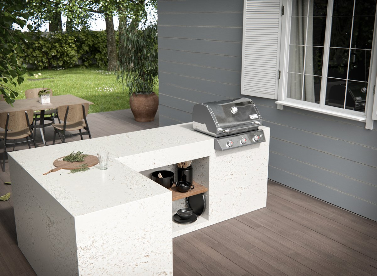 Perfect for bank holiday weekend, an outdoor kitchen with built in barbecue, worktop area and shelving makes entertaining outside a breeze. With its high resistance to the outdoor elements, Dekton is the ideal outdoor solution, no matter the weather bit.ly/DektonCosentino