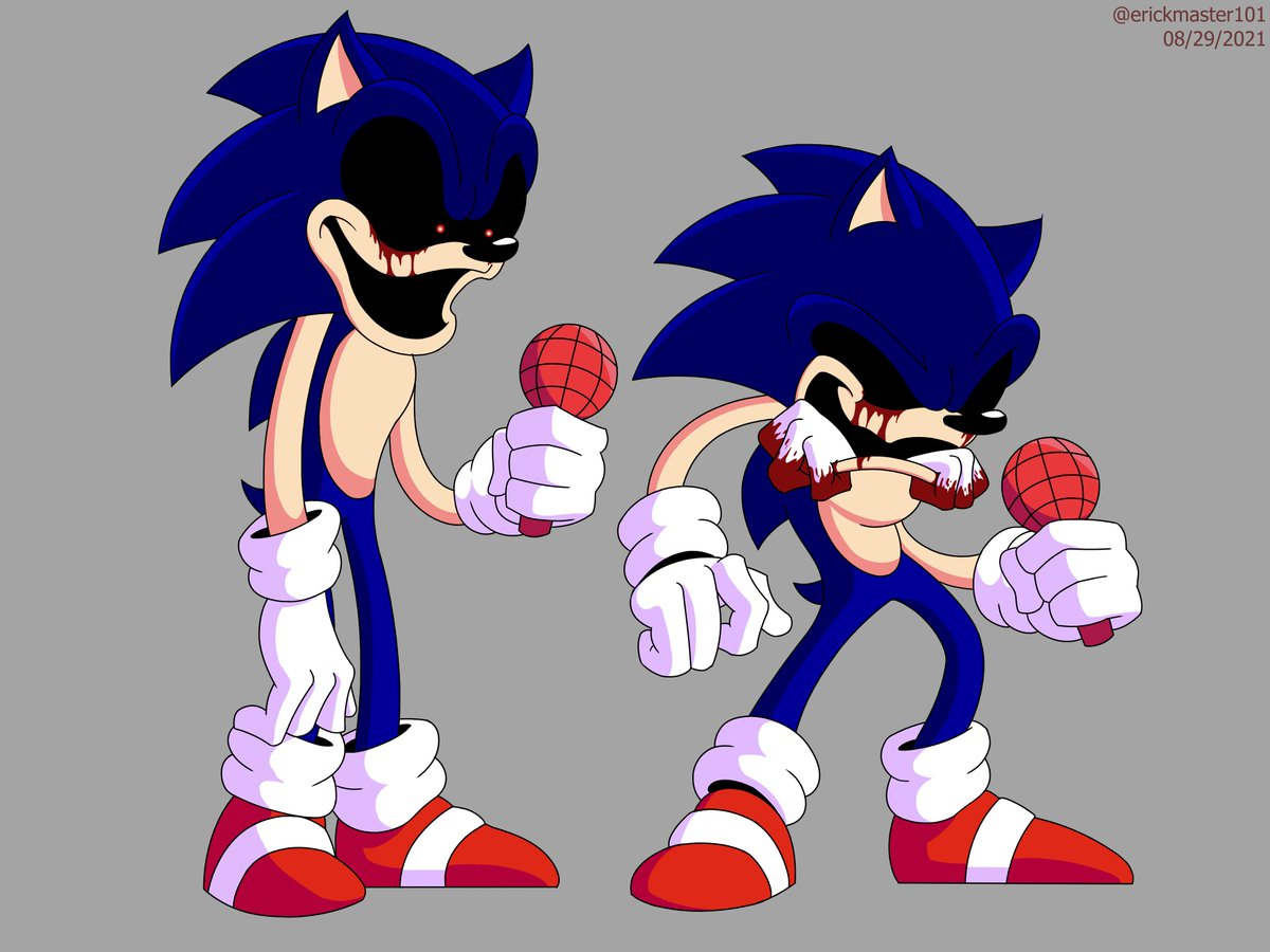 """Erick Animations on Twitter: """"Soon after finishing the previous Vs Sonic.exe  drawing I started a new drawing with two more poses from the mod! This  fanart is I made of the FNF"""