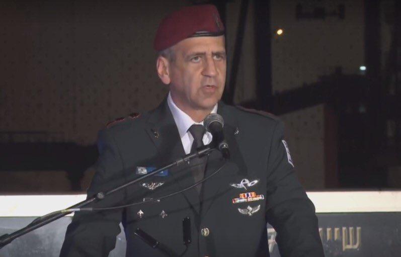 رئيس الأركان الجنرال أفيف كوخافي قبل قليل خلال حفل تسلم سفينة الصواريخ الجديدة