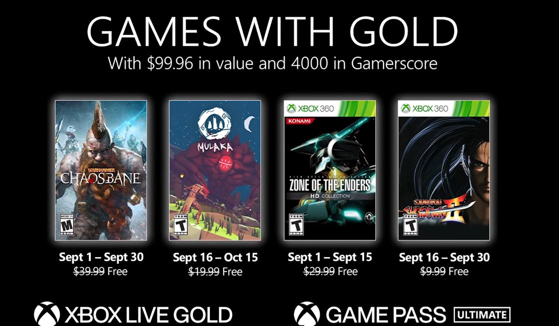 September Games With Gold Games are Free for Gold Members via Xbox.