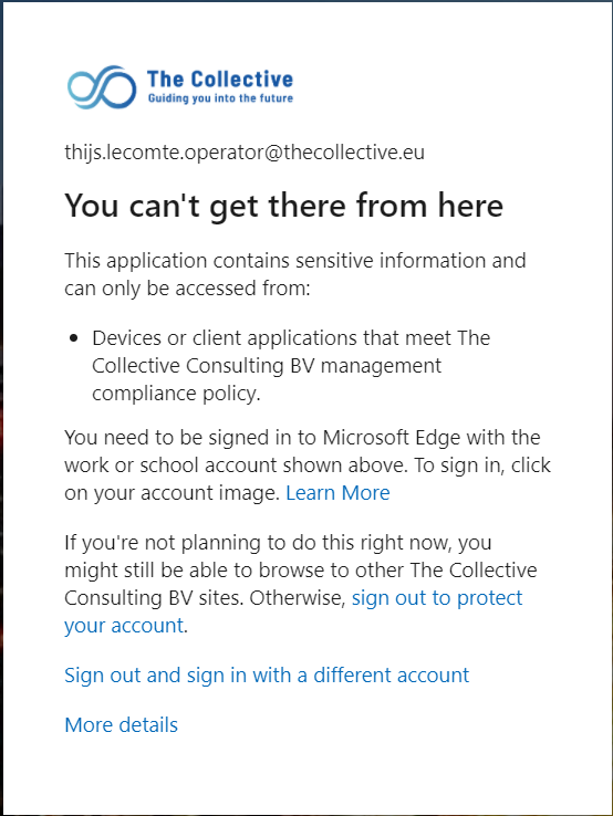 Azure AD Sign-in has failed due to CA policy.