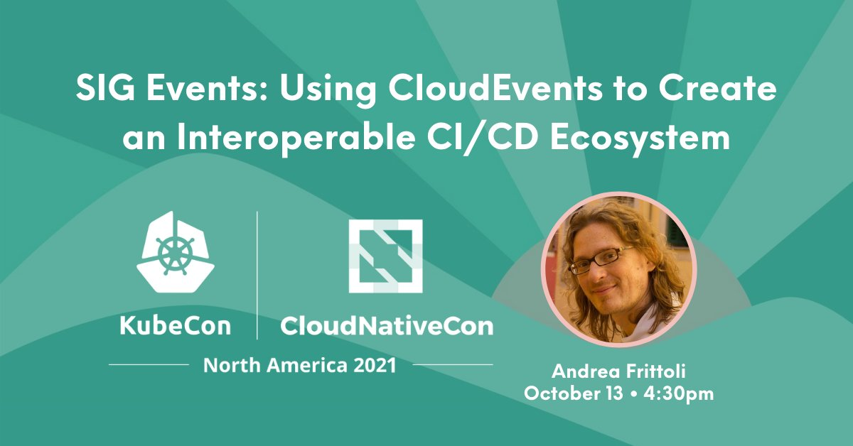 Join me at #KubeCon in October, I'll present the work we're doing at the CDF SIG Events to promote interoperability in CI/CD through events sched.co/lV1H @CDeliveryFdn @tektoncd @keptnProject @KubeCon_