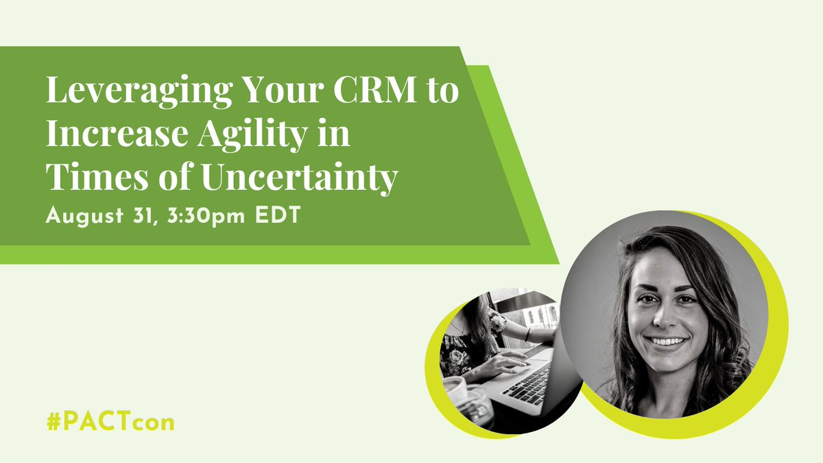 Join us and @pacttweets at #pactcon today at 3:30 pm EDT. We're leading 'Leveraging your CRM to Increase Agility in Times of Uncertainty.' Karen, our Senior Account Executive, will be presenting and around for questions!
