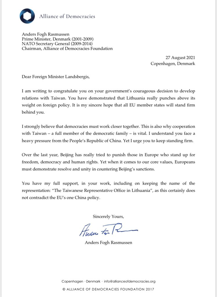 前北約秘書長致函立陶宛外長 稱台灣辦事處不違「一中原則」