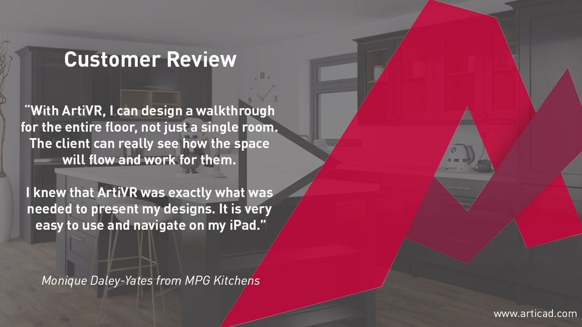 ✨Customer Review✨ We've received lovely feedback for our cloud-based virtual reality app, #ArtiVR! Here's what Monique from MPG Kitchens had to say... Read the full review here - bit.ly/3BJgsLx #customerreview #customersatisfaction #vr #articad #virtualreality