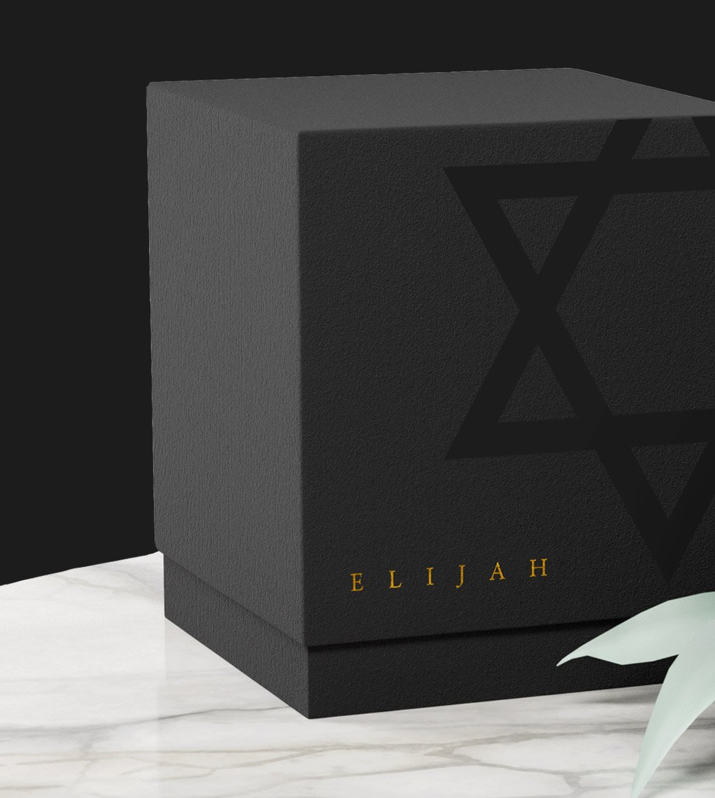 The beautiful gift box included with every order✨ Features ash rigid telescoping, UV spot coated Star of David, & Gold foil embossed branding!