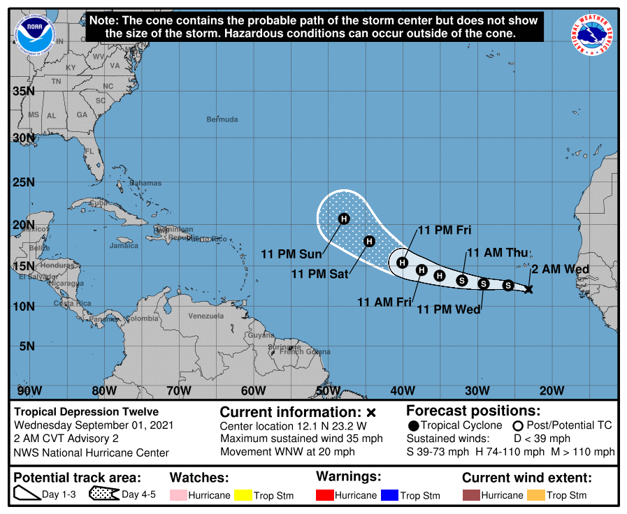 La tempête tropicale #Larry s'est formée au sud de l'archipel du Cap Vert. Le système devrait devenir un ouragan dans la semaine (potentiellement un ouragan majeur).