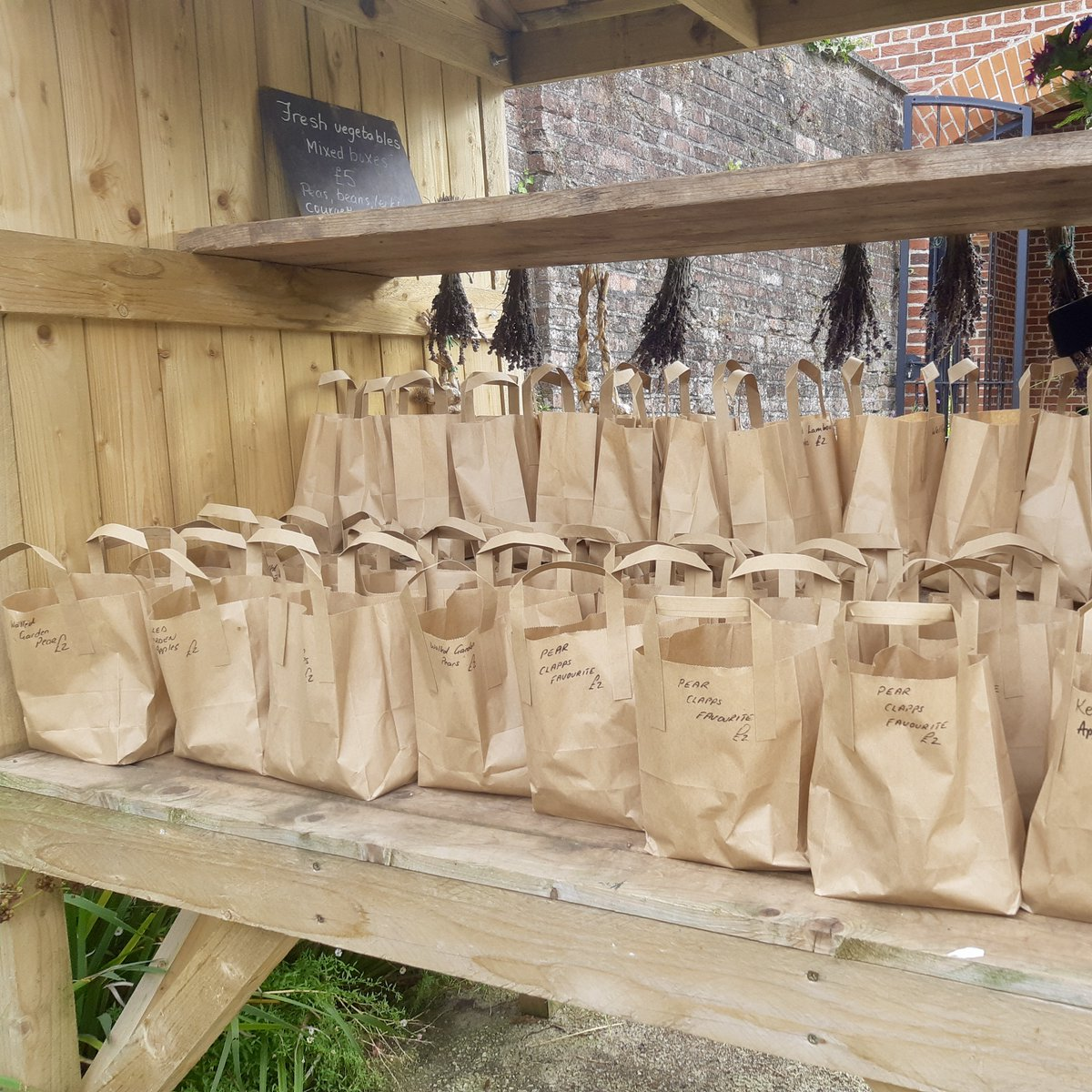 The start of September means harvest time in the Walled Garden! Our busy team have picked the first apples, pears and plums of the season, which are now bagged and ready for sale on our garden cart 🍎🍐