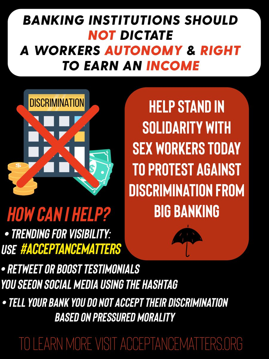 PSA ⚠️ Someone you know is a sex worker. Would you like to help fight against discriminatory practices against SWers by big banks? Stand in solidarity, using the tag #AcceptanceMatters today. Visit acceptancematters.org, and sign the open letter. #MasterCensor #VisaVictims