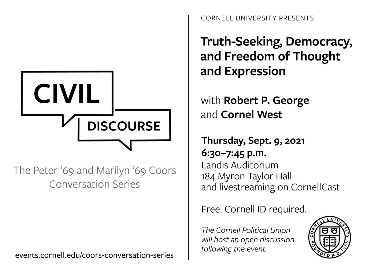 Join us on Thursday 9/9 at 6:30pm (EDT) for the Coors Conversation Series. This discussion will be moderated by #CornellLawSchool professor Sheri Lynn Johnson. The event will be in-person and live-streamed on CornellCast. Pre-register for the event here: ow.ly/2REI50G2ihs