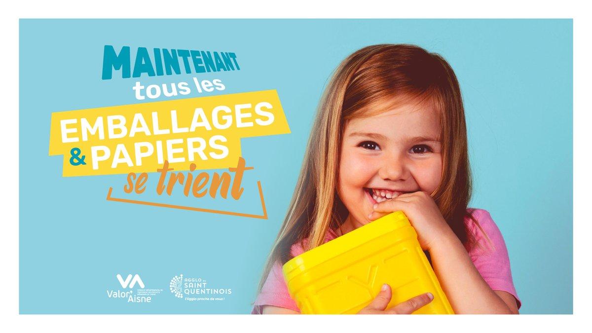 À partir d'aujourd'hui, les consignes de #tri changent En partenariat avec @Valoraisne, CITEO et le syndicat départemental de traitement des #déchets ménagers, l'Agglo facilite le geste de tri : tous les emballages, sans exception, se trient https://t.co/NAPFxMq9CX