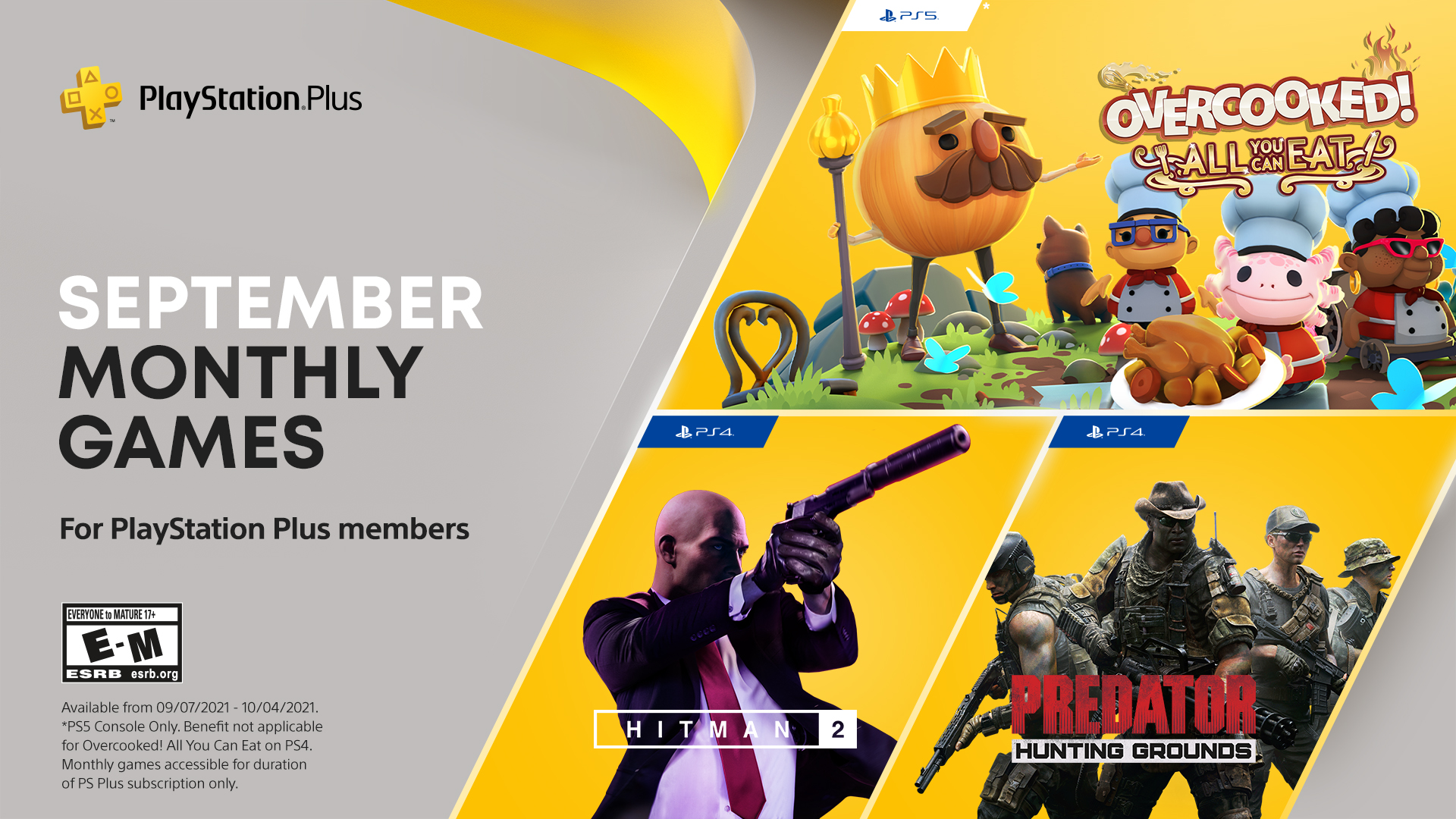 PS Plus Free Games September 2021