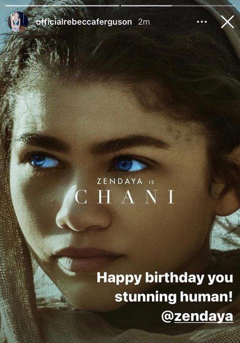 Rebecca ferguson wishing zendaya a happy birthday via instagram story