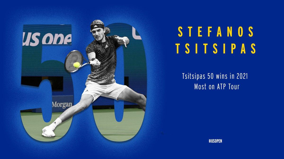 5️⃣ Stefanos Tsitsipas 0️⃣  The winningest player on the @atptour in 2021 keeps on going at the #USOpen