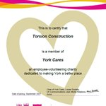 Our Torsion Construction site in York is now a member with @YorkCaresA non-profit who work with community projects where they can have most impact, we looking forward to working with them and are proud to be a member.#nonprofitorganisation #constructionindustry #TeamTorsion