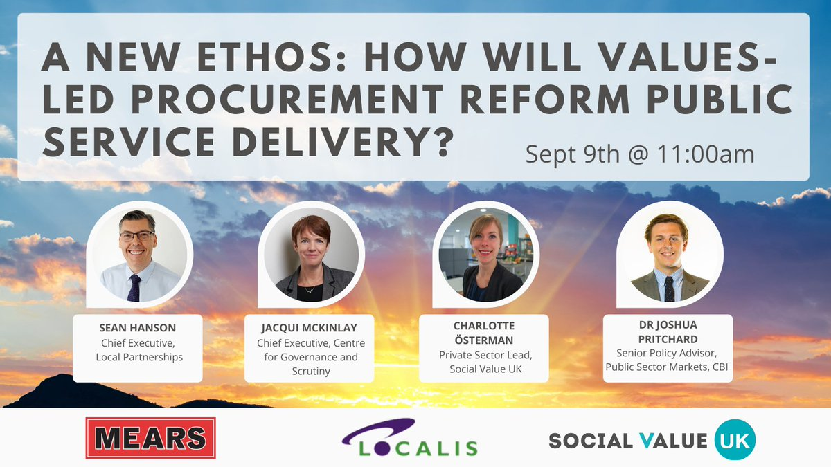 RT @socialvalueuk Just one week to get signed up! ⏰  On Sept 9th, join our open debate on values led procurement reform & what this could mean for public service delivery! @socialvalueuk @Localis @LP_SeanHanson @jacquimck @LottaOsterman @jb_pritchard   Register here: https://t.co/9mEJjSa7p8