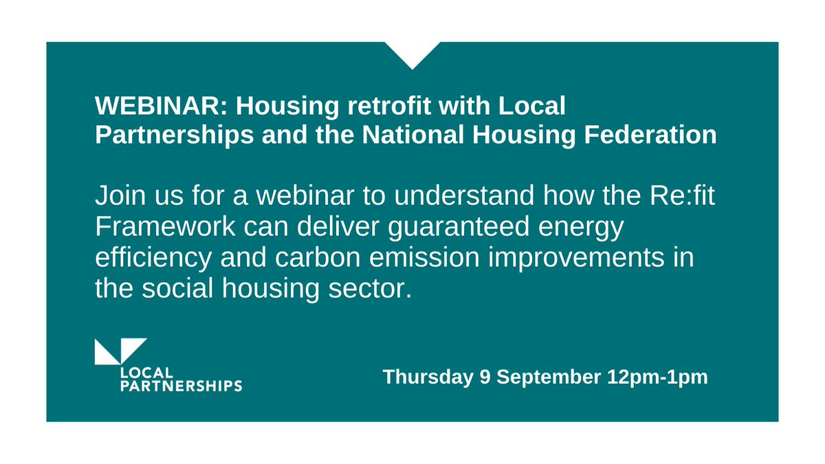 We are holding a webinar with @natfednews for NHF members to provide information on the Re:fit Framework and how it can deliver energy efficiency in the social housing sector on Thursday 9 September, 12pm-1pm.  Register here 👉 https://t.co/oXoVytDwoX