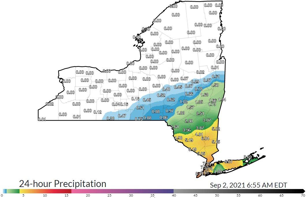 De 0 à plus de 200 mm de pluie sur l'état de #NewYork au passage des restes d'#Ida. Le sud de l'état a été bien plus touché, notamment la métropole de New-York (plus de 8 pouces de pluie).