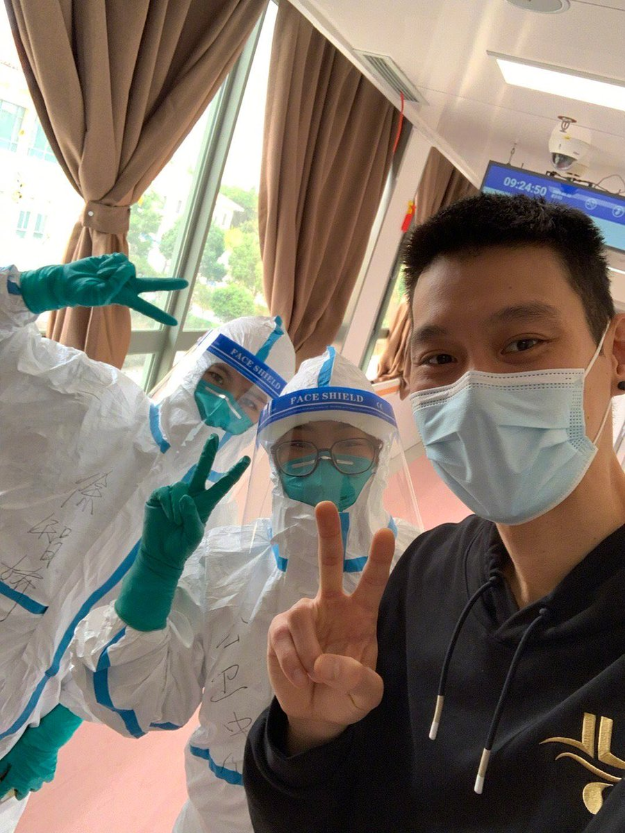 """Beijing Ducks player @JLin7 has been discharged from a hospital in #Shanghai on Thursday upon recovery from #COVID19. Lin thanked all of the """"brave"""" medical staff in a Weibo post and said he is """"so touched"""" and """"very healthy."""" Lin is currently quarantined in a hotel."""