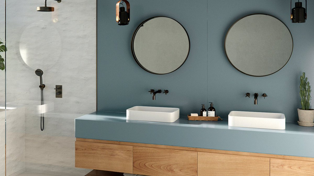 🔵 In bathroom design, choosing blue is always a great idea! To encourage you to select this color, we inspire you with a bathroom designed with our deep blue #Silestone Cala Blue, can you feel the Mediterranean breeze? Explore it at bit.ly/3gQlNrv #SunlitDays