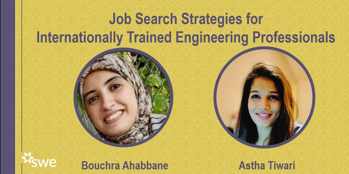 #ICYMI 👇  Do you want to improve your job search strategies?  #OCISO mentee and Civil Engineer Bouchra Ahabbane is going to share her experience in the following event by the @SWE_Ottawa.   ⌚ Today 6:30 PM – 7:45 PM EDT