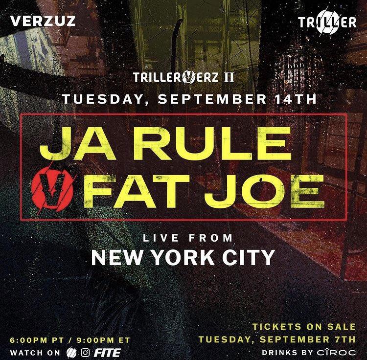 "DDOT. on Twitter: ""THE CATEGORY IS: DEF JAM VENDETTA - FIGHT FOR NY  @verzuzonline x @triller present: JA RULE VS FAT JOE @jarule @fatjoe Sept  14th LIVE FROM NYC 9pm ET/6pm PT."
