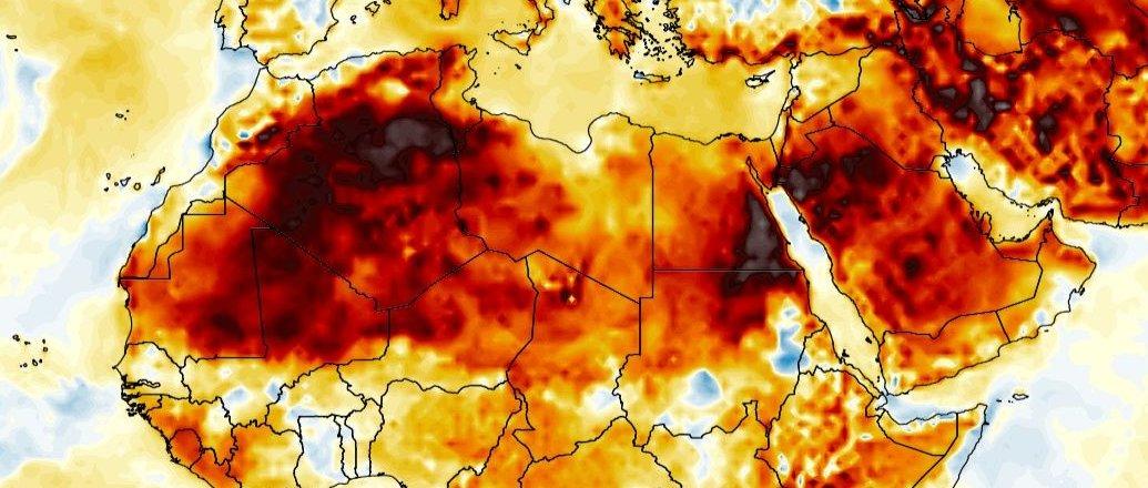 Grosse chaleur en ce début septembre en Afrique du Nord : 48.2°C en #Algérie 47.7°C en #Egypte, très près des records nationaux pour septembre.