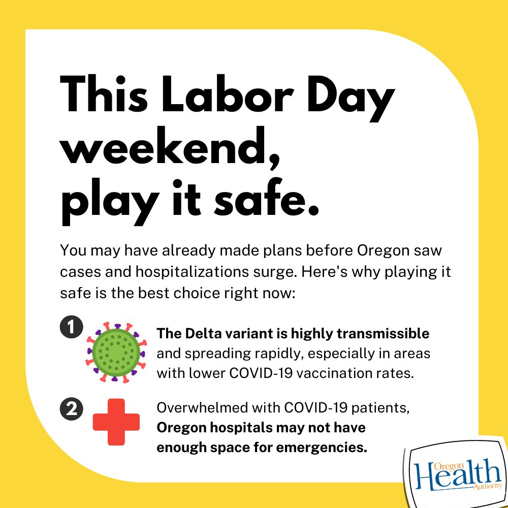 You may have already made plans before Oregon saw cases and hospitalizations surge. Here's why playing it safe is the best choice right now: 1. The delta variant is highly transmissible and spreading rapidly, especially in areas with lower vaccination rates. 2. Overwhelmed with COVID-19 patients, Oregon hospitals may not have enough space for emergencies.
