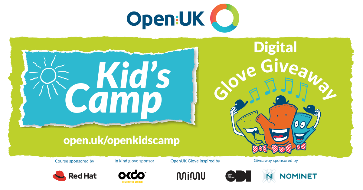 Take part in OpenUK #OpenKidsCamp. Digital Glove Giveaway, starts 7 September 10 am openuk.uk/openkidscamp 5000 gloves up for grabs. 800x 1 = individual & 100 x30 = community groups and schools (need microbit 1 or 2 to use), and 1200 Gloves with micro:bits for digitally excluded