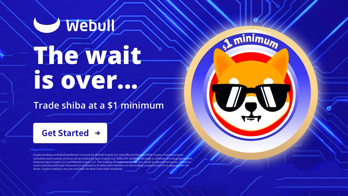 SHIB is here! Start trading today with #Webull Crypto!