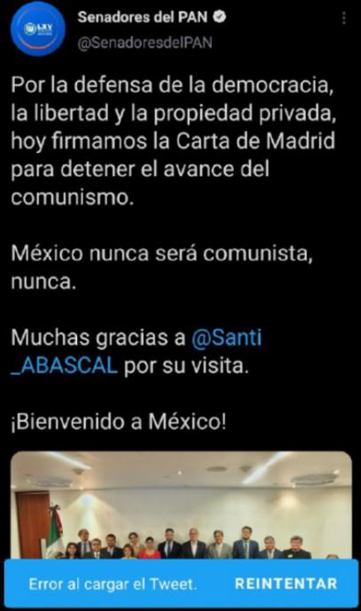 """Julián Macías Tovar on Twitter: """"El PAN de México, la cuna de El Yunque, de  la que forman parte varios de los senadores que aparecen en la foto, ha  tenido que borrar"""
