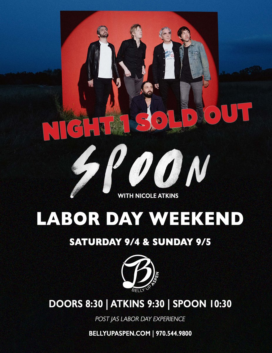 . @spoontheband's show on Saturday, 9/4 is SOLD OUT. Tickets still available for the Sunday, 9/5 show: ow.ly/aSRv50G48Yy