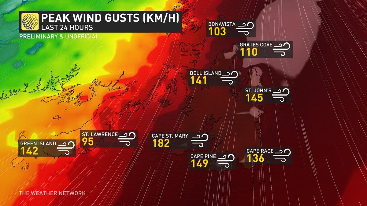 Violentes rafales de vent à l'arrivée de l'ouragan #Larry sur Terre Neuve #Canada. Il est à présent un cyclone extratropical puissant qui va rejoindre le sud du Groenland.