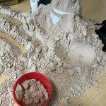 悲報です。買ったばかりのプロテイン2kgは娘氏により砂遊びに使用されました。