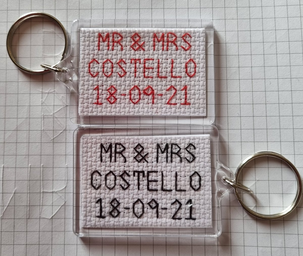 Personalised 'Mr & Mrs' keyrings with date.  These would make a great gift for  newly weds or wedding favours!  £4.00 (free UK postage). Buy 2 get 15% off.  #mrmrs #keyring #wedding #weddinggift #weddingfavour #jaykaycraftsdundee