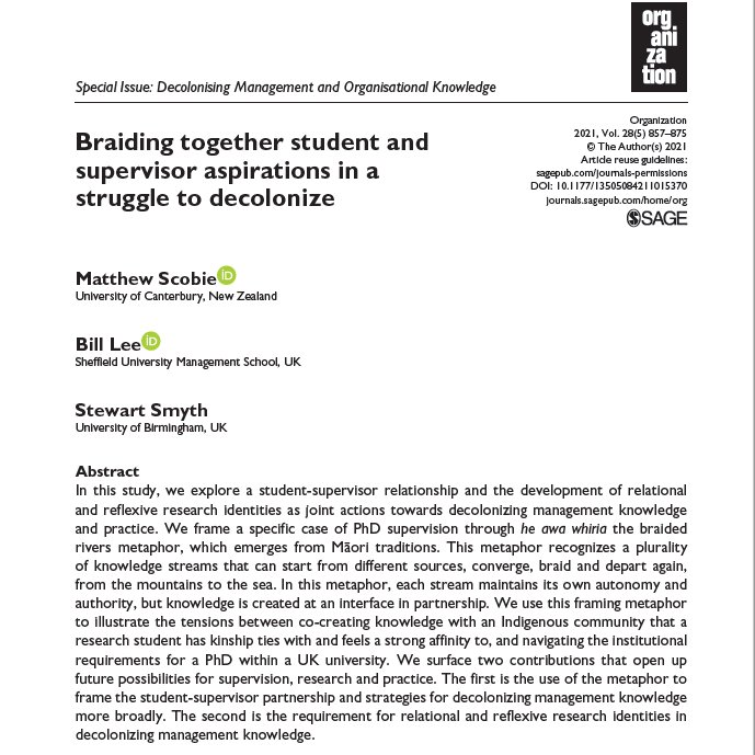 If you are involved in supervision of Indigenous research, either as student or supervisor, this new paper we wrote may be of interest. 1/4 doi.org/10.1177/135050…
