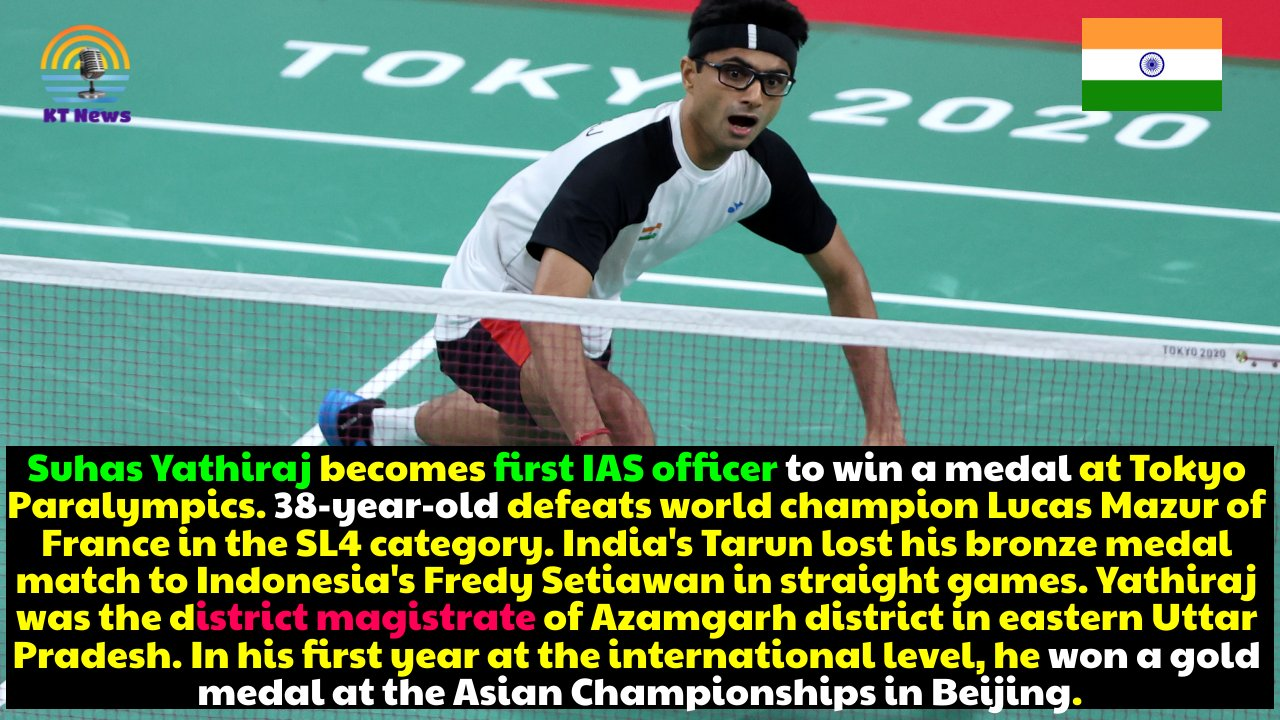 Silver medal for IAS officer Suhas Yathiraj in badminton at the Paralympics, but Tarun loses bronze