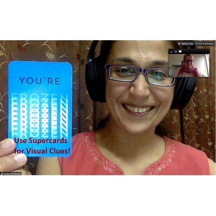 Gebruik deze handige clue Supercards bij video calls om elkaar snel en leuk visuele aanwijzingen te geven tijdens uw virtuele vergaderingen. mondialgifts.be/relatiegeschen…