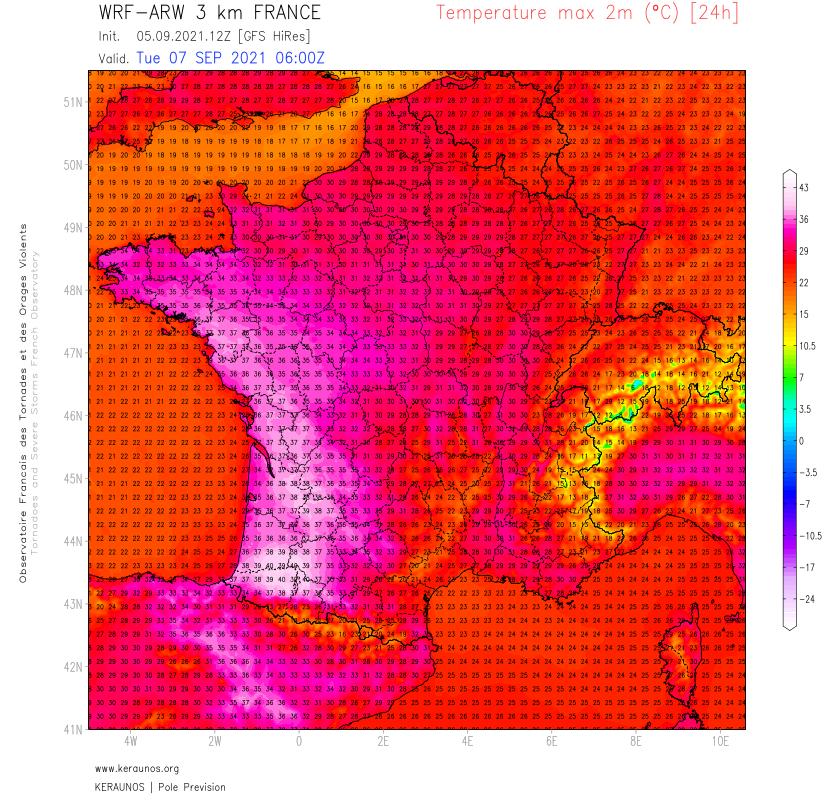 Le modèle ARW 3 km semble trop chaud par rapport au reste du panel mais le potentiel est là pour des records mensuels mardi dans l'ouest. Pour l'anecdote, des valeurs de 40°C ont déjà été relevées en septembre en France (en 2016 dans les Pyrénées-Atlantiques, en 1975 à Ajaccio).