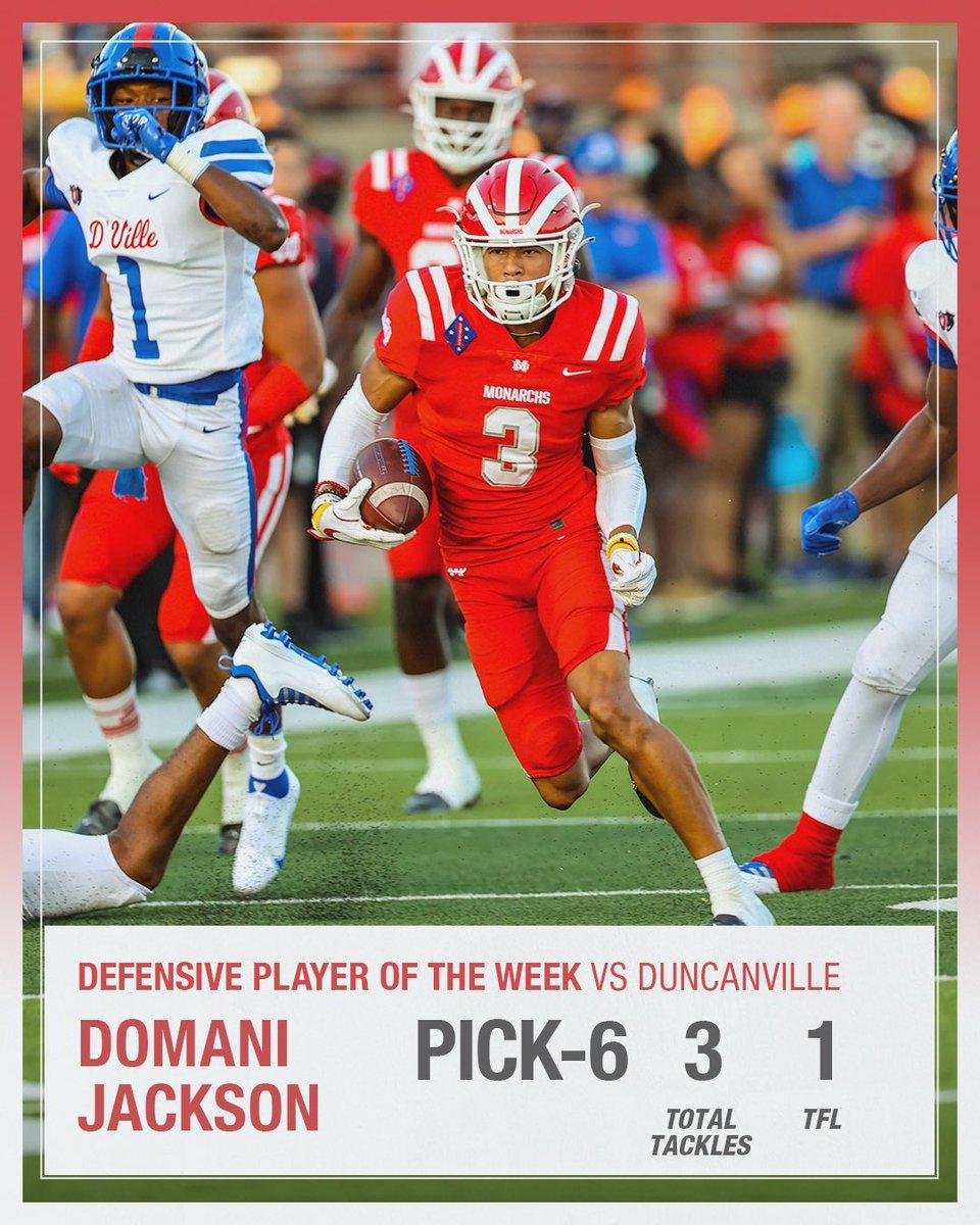 Defensive Player of the Week vs Duncanville: SR DB Domani Jackson \ /