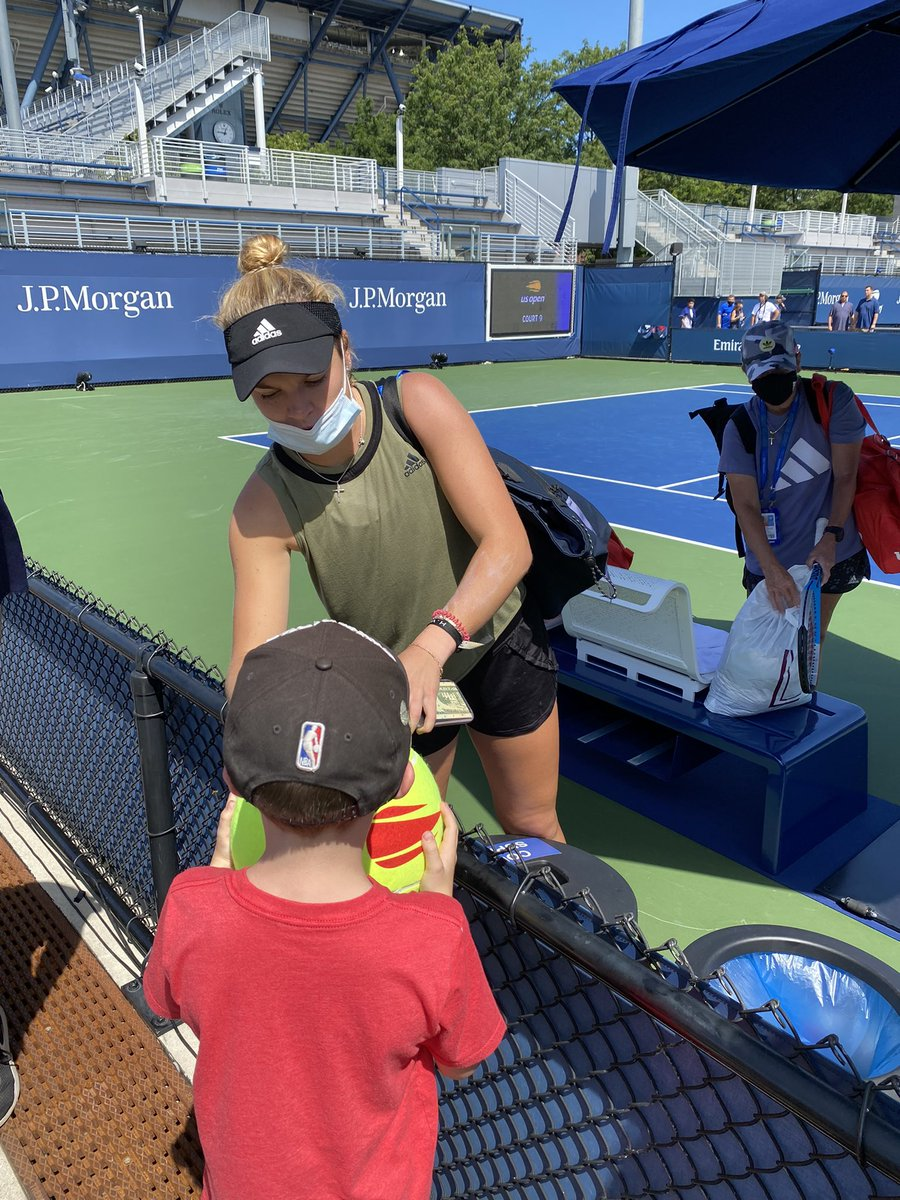 My son is rooting for @CocoGauff and @CatyMcNally now! We got to see them practice yesterday.