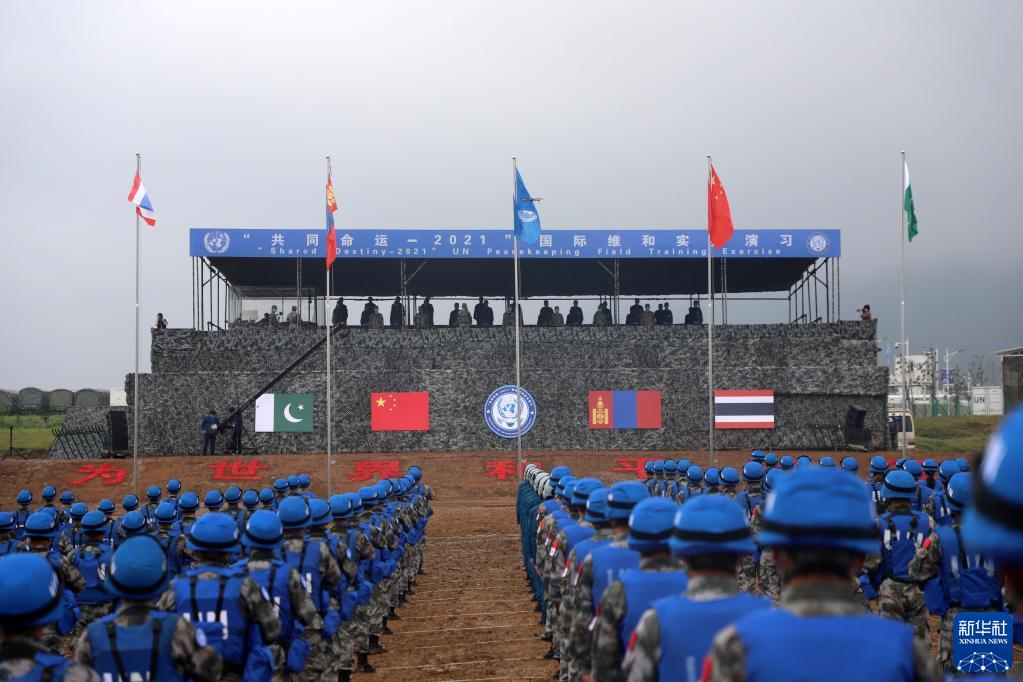 The first-ever China-hosted multinational UN peacekeeping military exercise in action. (Xinhua News)