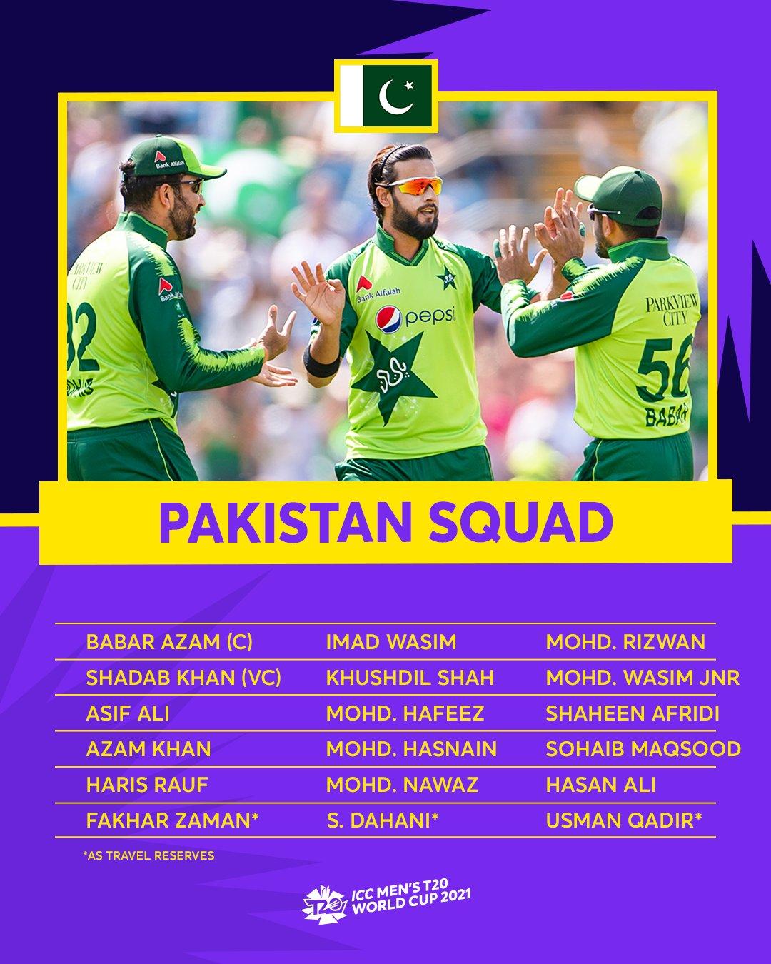 Pakistan Squad For Mens T20 WC 2021